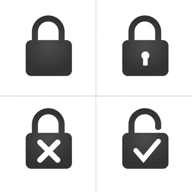 ilustrações, clipart, desenhos animados e ícones de bloqueio de símbolos com fechadura cruz e checkmark, ilustração vetorial, isolada no fundo branco. - fechado