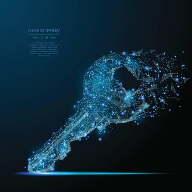 lock key low poly blue - klucz stock illustrations