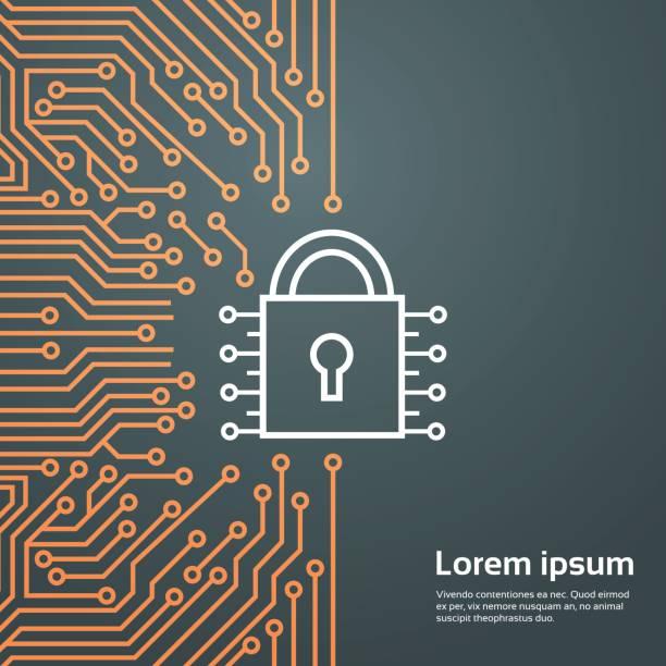 sperre netzwerk daten schutz system konzept banner - wachpersonal stock-grafiken, -clipart, -cartoons und -symbole