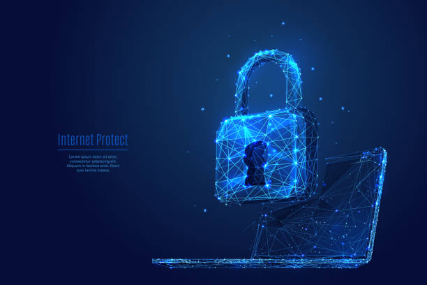 Lock on laptop. Data protect and secure Lock on laptop screen. Low poly wireframe vector illustration. Digital data protect or secure concept. Starry sky consisting of points, lines and shapes on dark background. Polygonal notebook and lock security stock illustrations