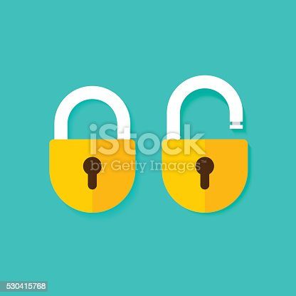 Lock open and lock closed vector icons isolated on blue background, yellow padlocks shapes illustration, flat cartoon locks set design