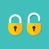 Lock open and closed vector icons isolated on blue background