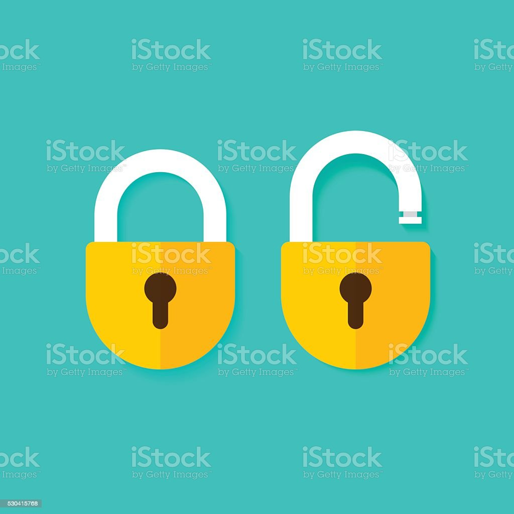 Lock open and closed vector icons isolated on blue background vector art illustration