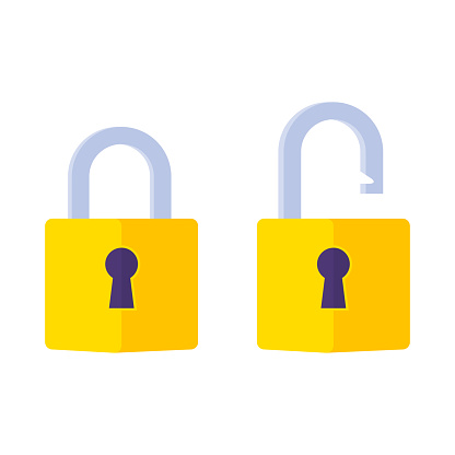 Lock open and lock closed icon. Padlock symbol. Symbol of protection. Concept password, blocking, security