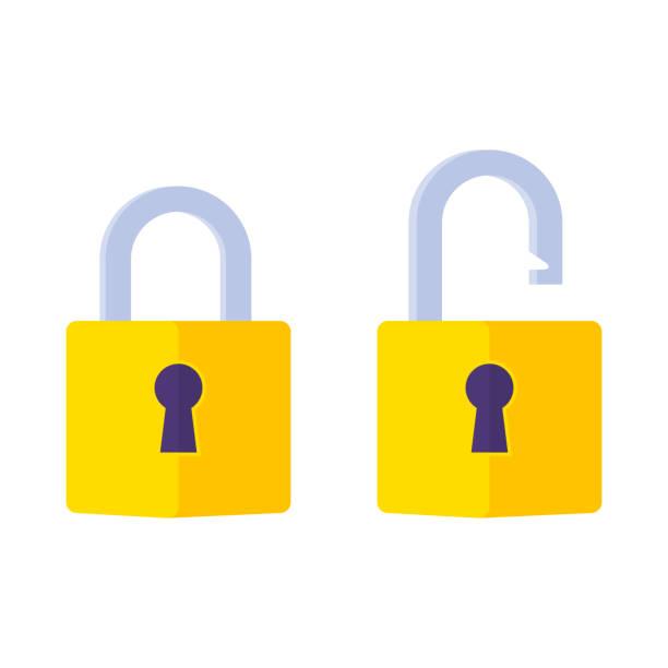 ilustrações, clipart, desenhos animados e ícones de feche e bloqueie o ícone fechado. símbolo de cadeado. símbolo de proteção. senha de conceito, bloqueio, segurança - fechado