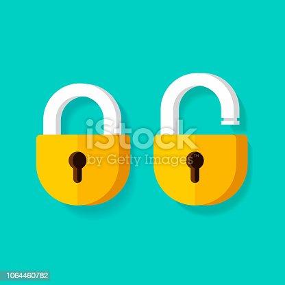 Lock open and lock closed vector icons, flat cartoon padlocks design isolated