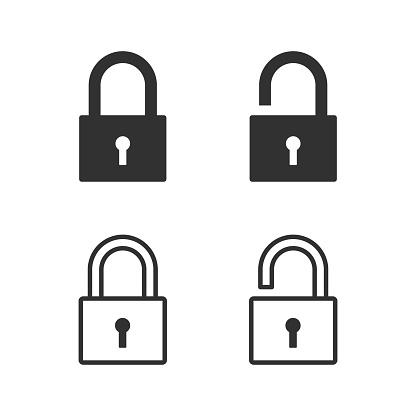 Lock, padlock, security icon. Vector illustration.