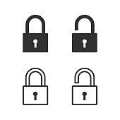 istock Lock, padlock, security icon. Vector illustration. 1093602238