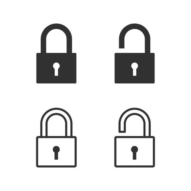 schloss, vorhängeschloss, security-symbol. vektor-illustration. - offen allgemeine beschaffenheit stock-grafiken, -clipart, -cartoons und -symbole