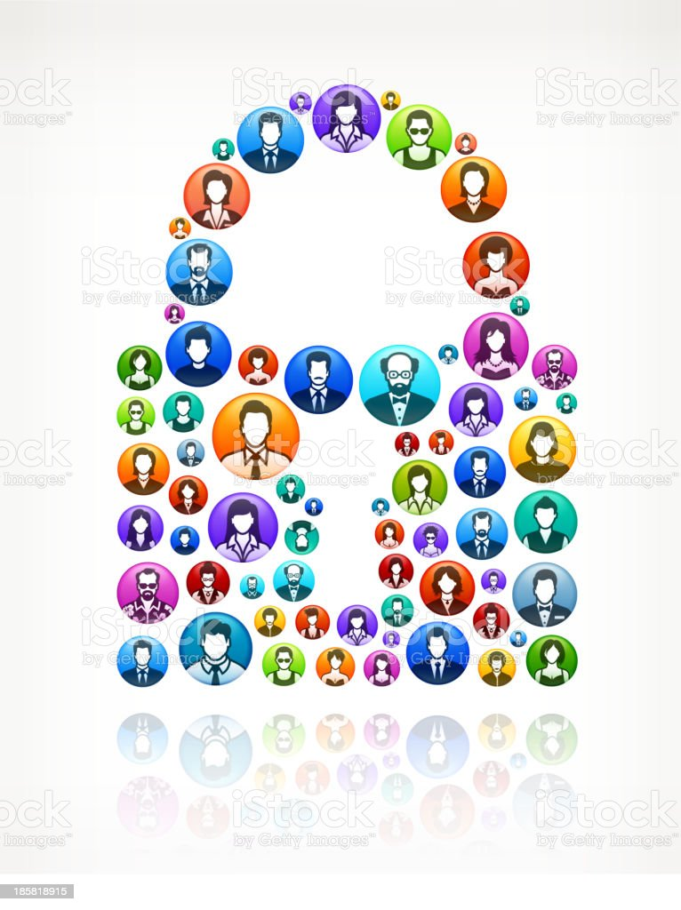 Lock People and community vector buttons royalty-free stock vector art