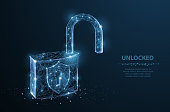 Lock. Polygonal wireframe mesh looks like constellation on dark blue night sky with dots and stars. Security, safe, privacy or other concept illustration or background