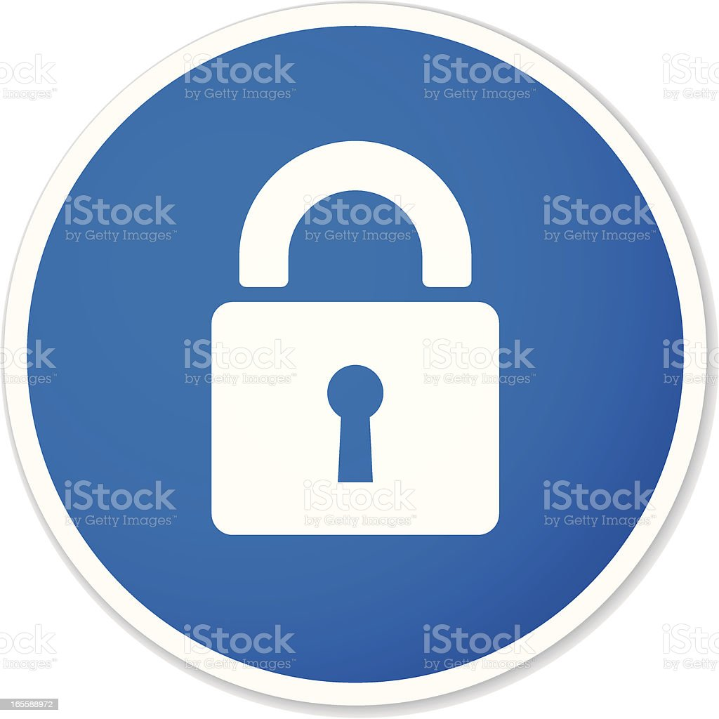 lock round sticker vector art illustration