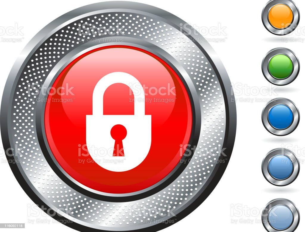 lock, security royalty free vector art on metallic button royalty-free stock vector art