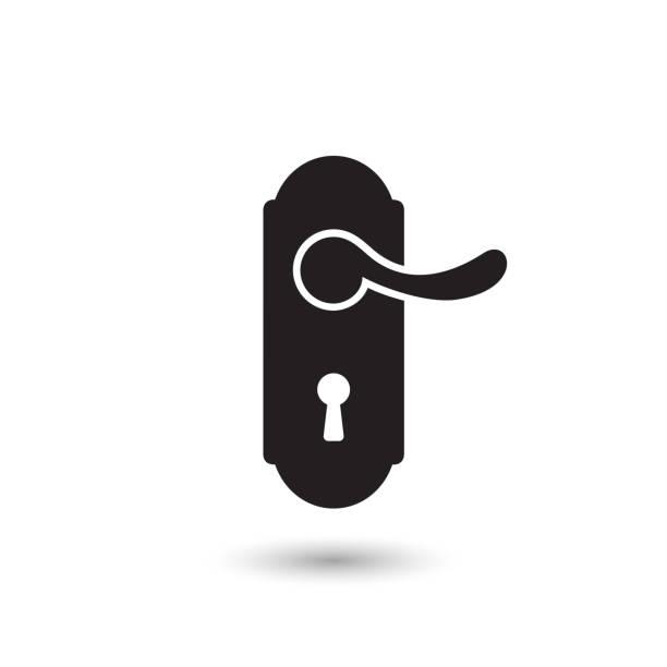 잠금 벡터 아이콘, 트렌디 한 플랫 스타일의 문 핸들 아이콘. 벡터 - 문손잡이 stock illustrations