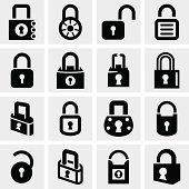 Lock vector icons set on gray