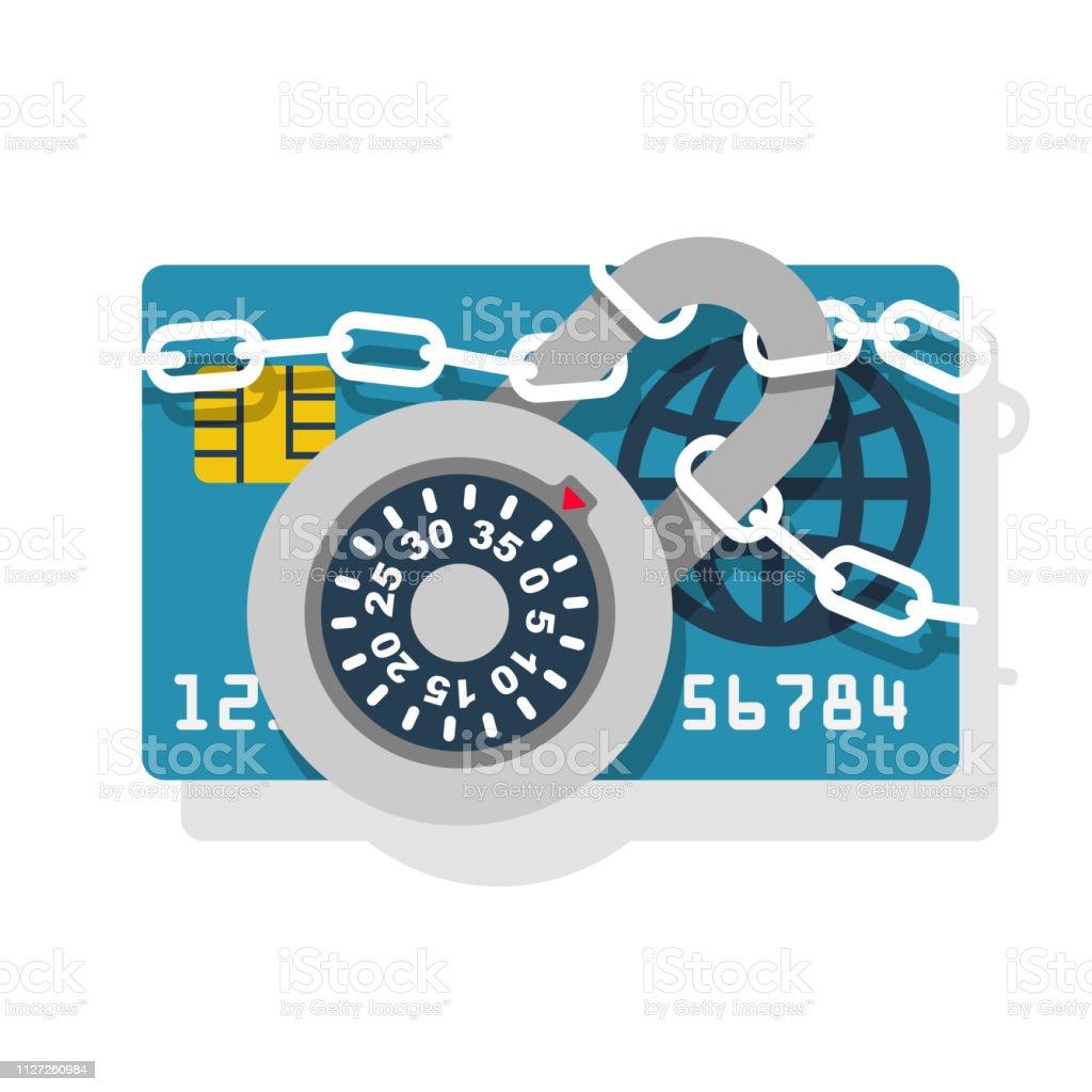 Cerradura con cadena en tarjeta de crédito - ilustración de arte vectorial
