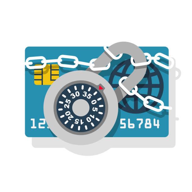 lock with chain on credit card - identity theft stock illustrations, clip art, cartoons, & icons