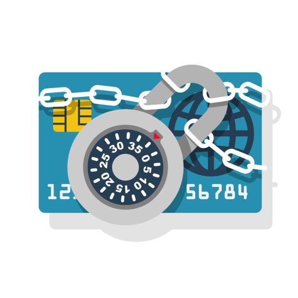 ilustraciones, imágenes clip art, dibujos animados e iconos de stock de cerradura con cadena en tarjeta de crédito - robo de identidad