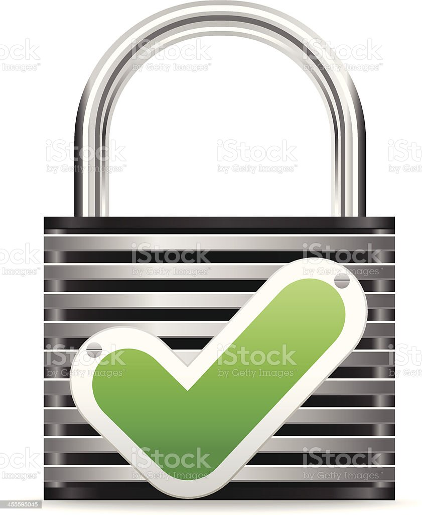 Lock with checkmark royalty-free stock vector art