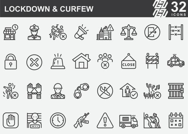 stockillustraties, clipart, cartoons en iconen met lockdown en avondklok lijn pictogrammen - avondklok
