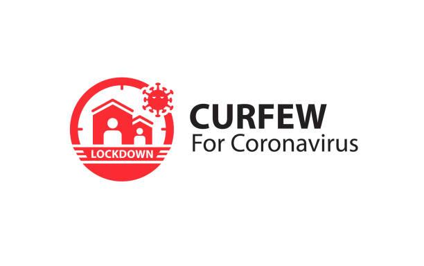 stockillustraties, clipart, cartoons en iconen met covid-19 lockdown-pictogramlogovector. - avondklok