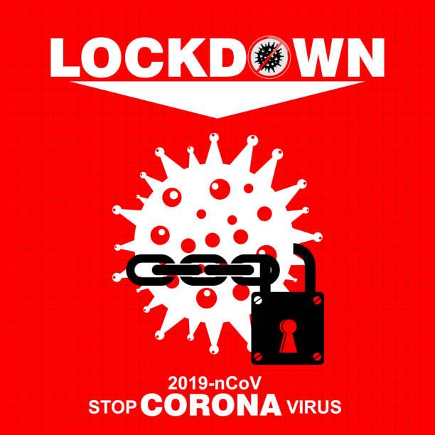 illustrazioni stock, clip art, cartoni animati e icone di tendenza di lockdown logo symbol for global corona virus n-cov2019 - lockdown