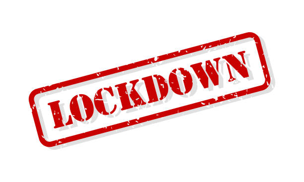 stockillustraties, clipart, cartoons en iconen met lockdown rubber stempel vector - lockdown