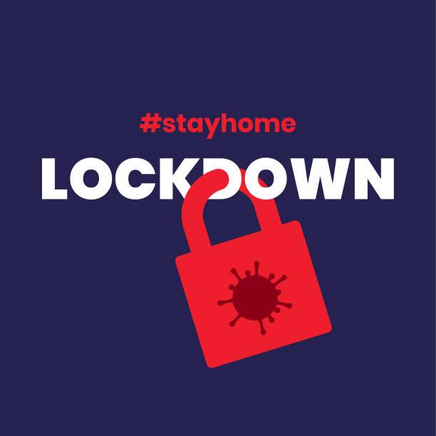 illustrazioni stock, clip art, cartoni animati e icone di tendenza di lockdown social distancing covid-19 corona virus flat minimalist vector illustration - lockdown