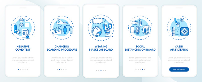 Lockdown travel rules onboarding mobile app page screen with concepts