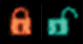 Two multimedia lock icons. One is closed and one is open.This vector file is part of the 'neon half tone design set', playing with circular half tone raster imitating glow effects as known by neon lights.