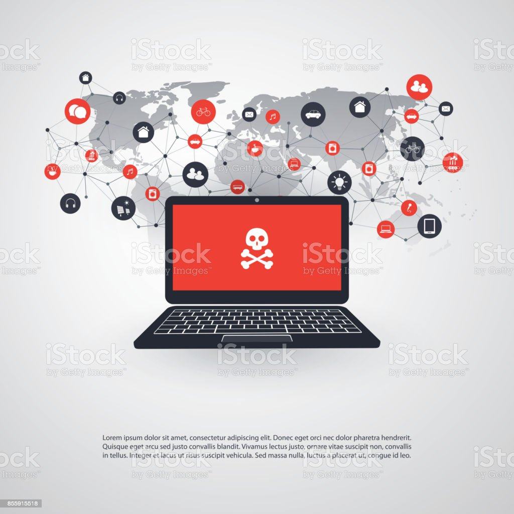 Locked Device, Encrypted Files, Lost Documents, Malware Attack - IT Security Concept Design vector art illustration