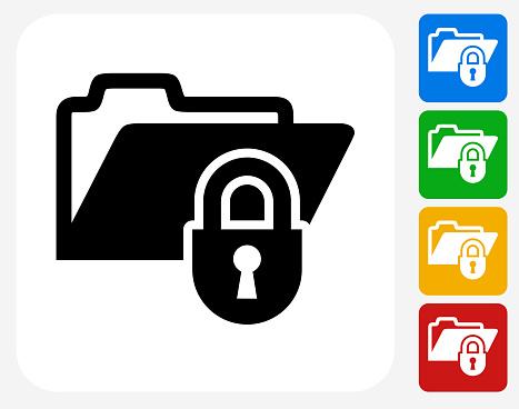 Locked Files Icon Flat Graphic Design