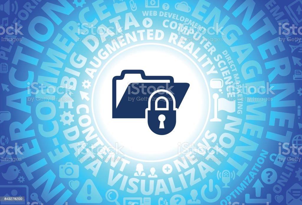 Locked Files Icon on Internet Modern Technology Words Background vector art illustration