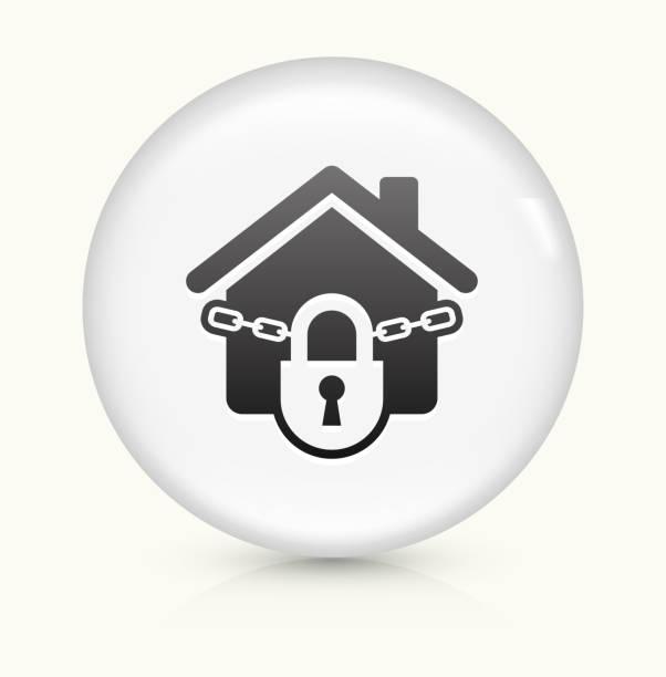 Bloqueada Asamblea icono sobre blanco, Vector de redondo botón - ilustración de arte vectorial