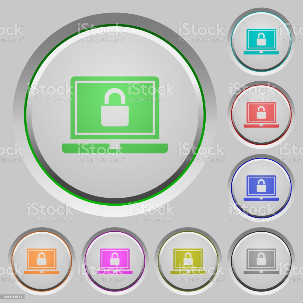Locked laptop push buttons vector art illustration