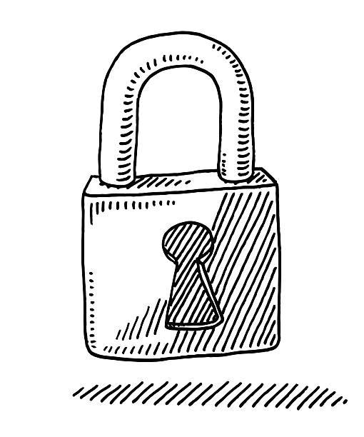 Locked Padlock Drawing vector art illustration