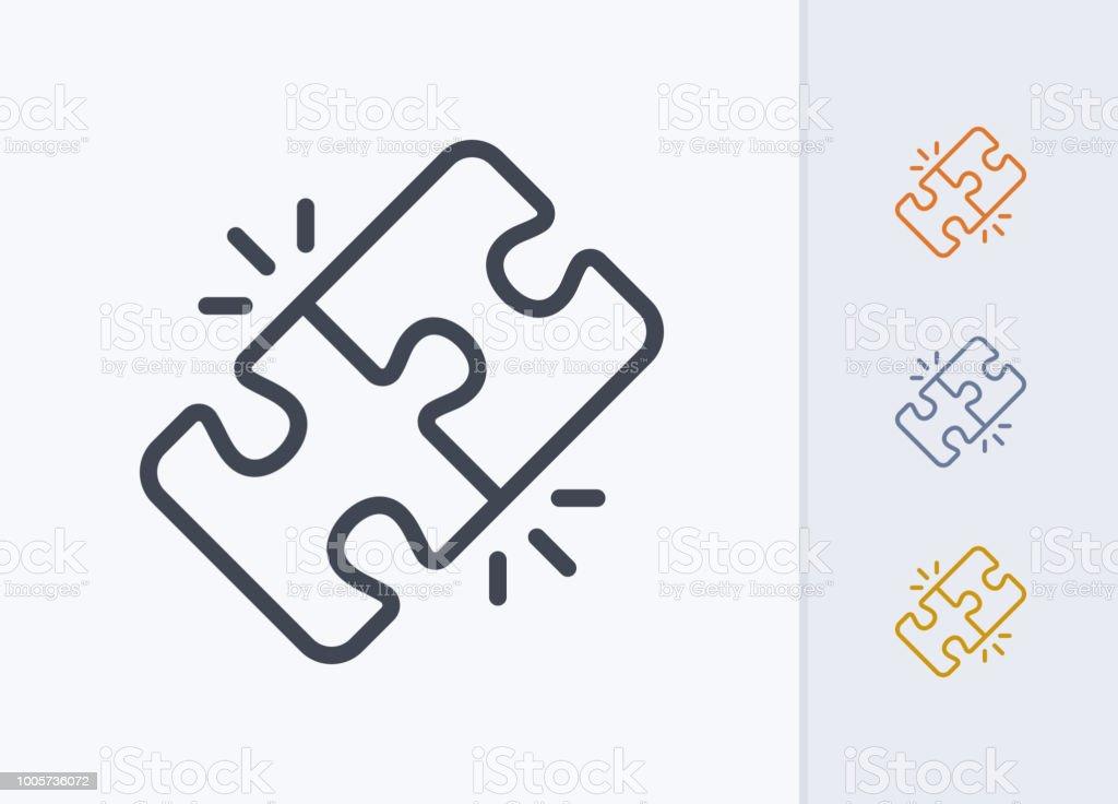 Locked Puzzle Pieces - Pastel Stroke Icons