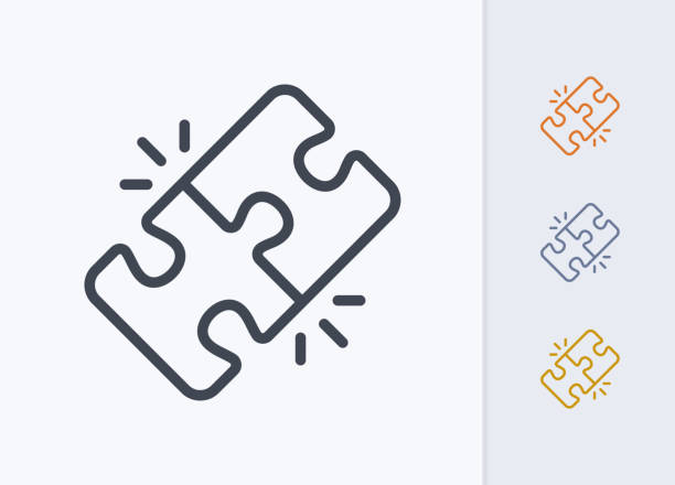 Locked Puzzle Pieces - Pastel Stroke Icons A professional, pixel-aligned icon designed on a 32x32 pixel grid. perfection stock illustrations