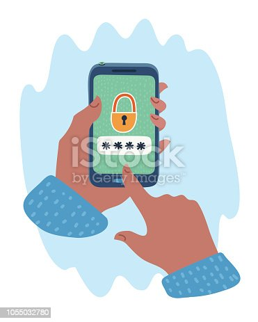 Vector cartoon illustratio of locked smartphone vector illustration, mobile phone with open lock in hand, concept of security, protection technology, authorization process.