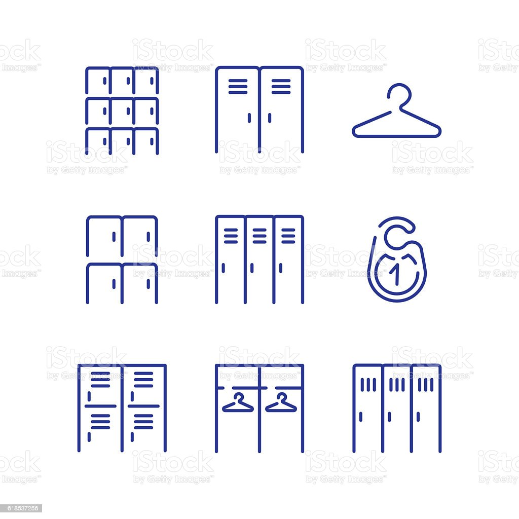 Locker icon set. vector art illustration