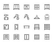 Locker room flat line icons set. Gym, school lockers, automatic left-luggage office, key tag vector illustrations. Outline pictogram personal belongings storage. Pixel perfect 64x64. Editable Strokes
