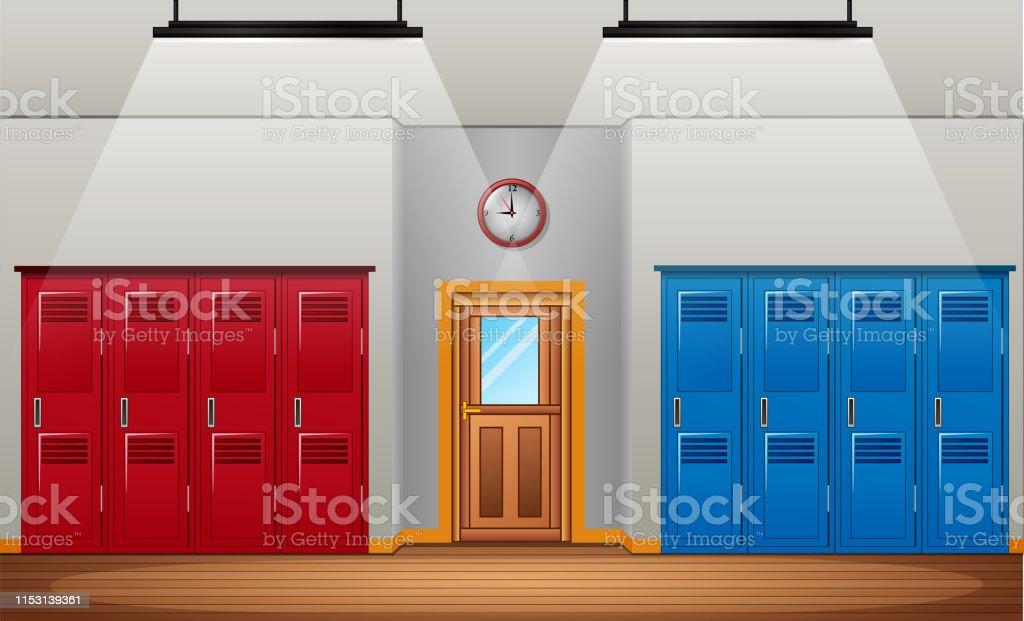 Locker room of gym or school sport changing room and entrance door