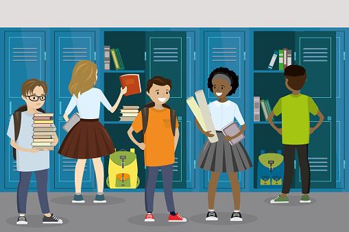 Lockers and students in the school hall,school interior,schoolboys and schoolgirls