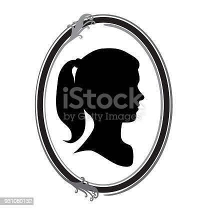 Cameo of a young woman with a pony tail