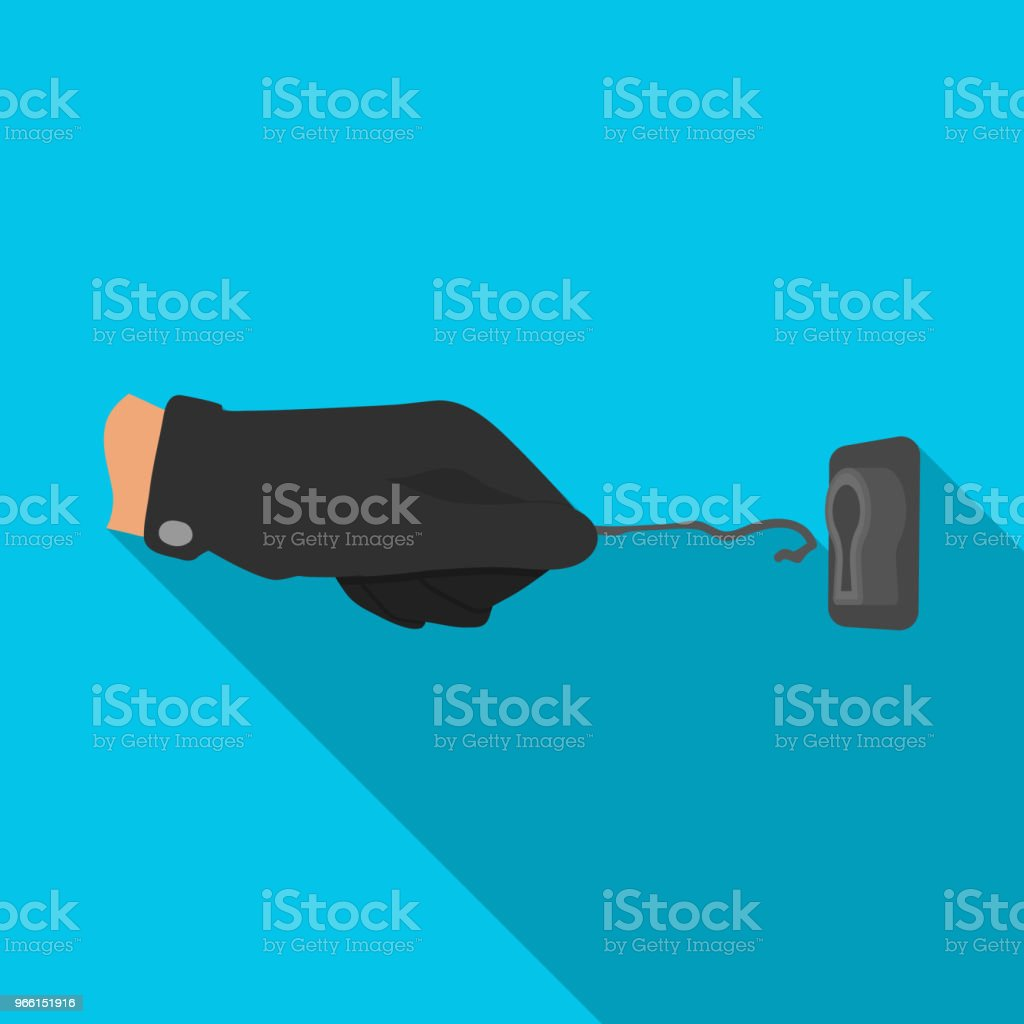 Lockpick in the hand of the criminal. Latchkey, thief tool, crime single icon in flat style vector symbol stock illustration web. - Векторная графика Векторная графика роялти-фри