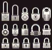 Locks black & white icon set