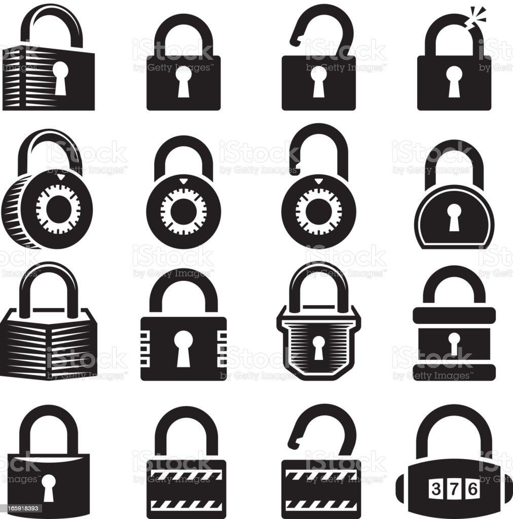 Locks open and closed lock royalty free vector icon set vector art illustration