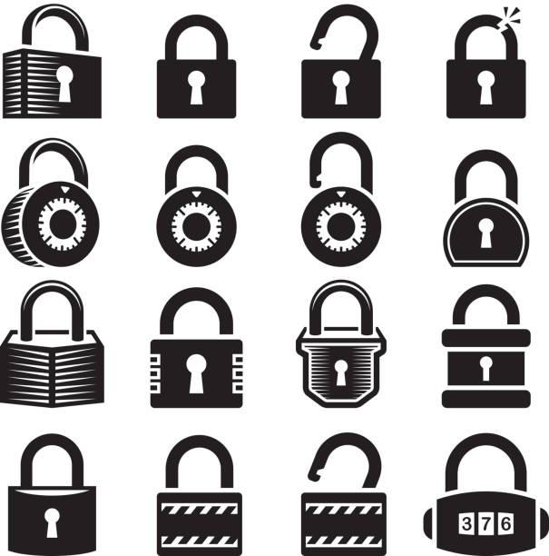 ilustrações, clipart, desenhos animados e ícones de fechaduras aberto e cadeado fechado ícone conjunto de vetor royalty free - cadeado