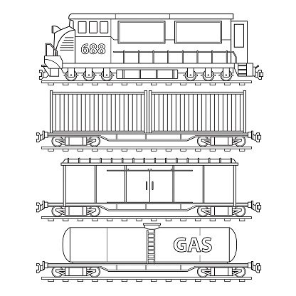 Locomotive and trains transportation land vehicle. Only black and white for coloring page, children book.