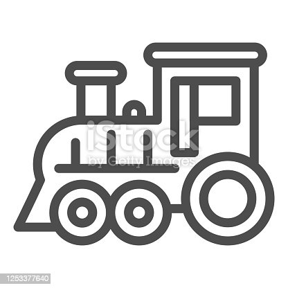 Locomotive line icon, Amusement park concept, train sign on white background, Locomotive toy icon in outline style for mobile concept and web design. Vector graphics
